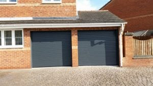 grey electric roller garage doors