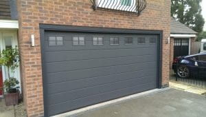 grey sectional double garage door