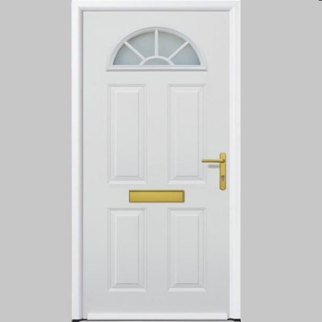 White ThermoPro door with and arched window at the top gold handle, letter box.