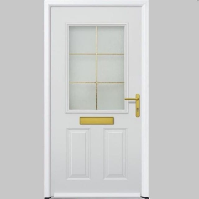 White ThermoPro door with gold handle, letter box and frame in the window.