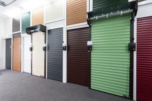 showroom with lots of different coloured roller shutters