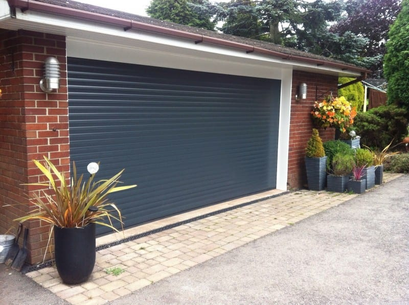 grey electric roller double garage door