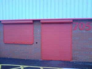 red electric roller shutters
