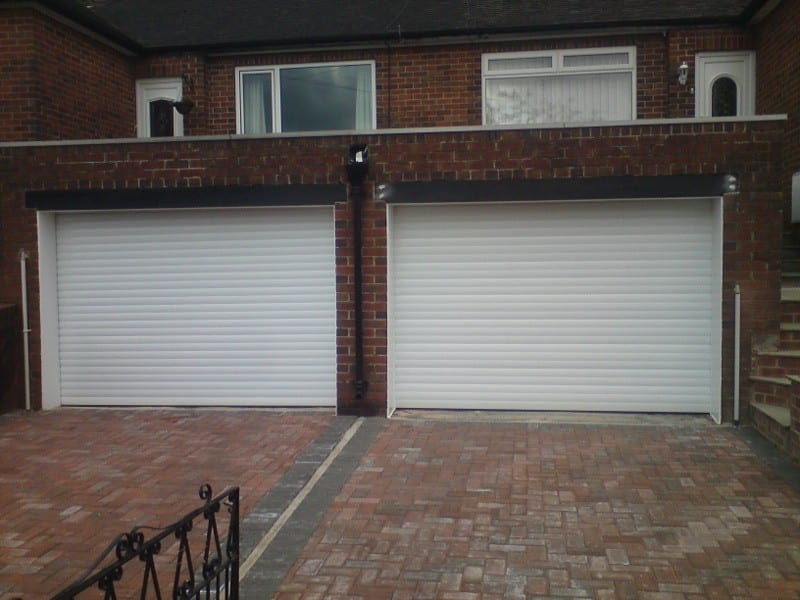 white electric roller garage doors