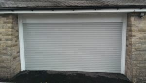 grey double electric roller garage door