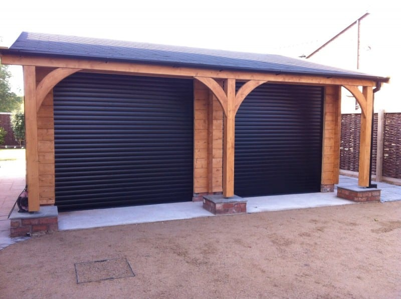 black electric roller garage doors