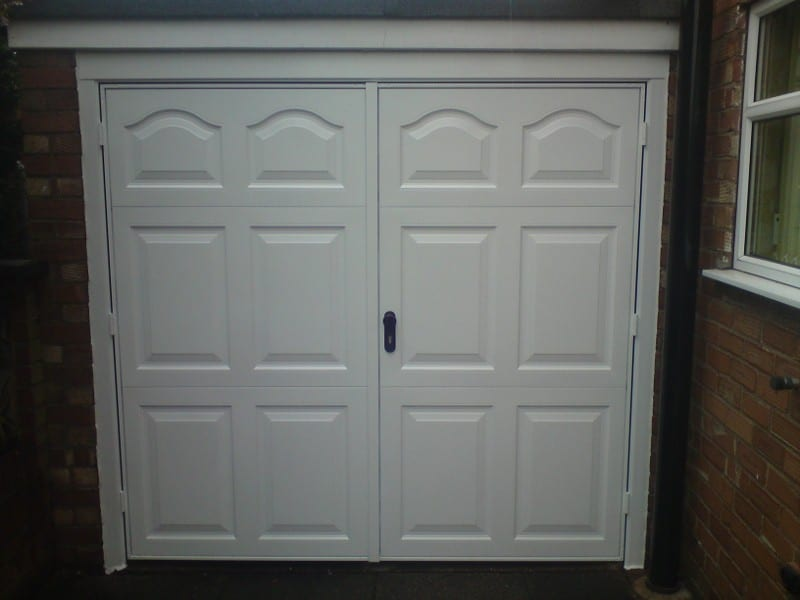 white side hinge garage doors