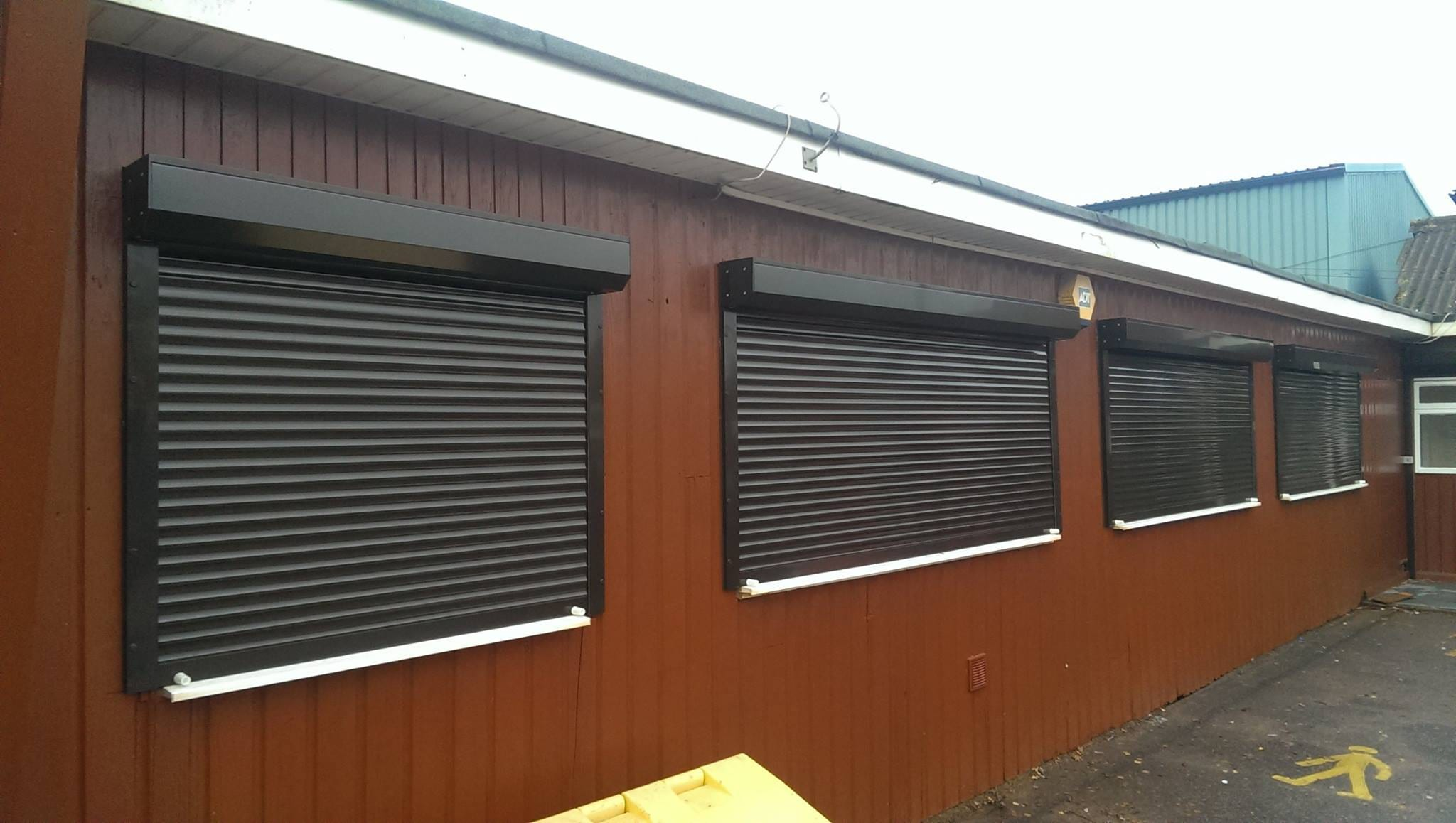 Black extruded security shutter