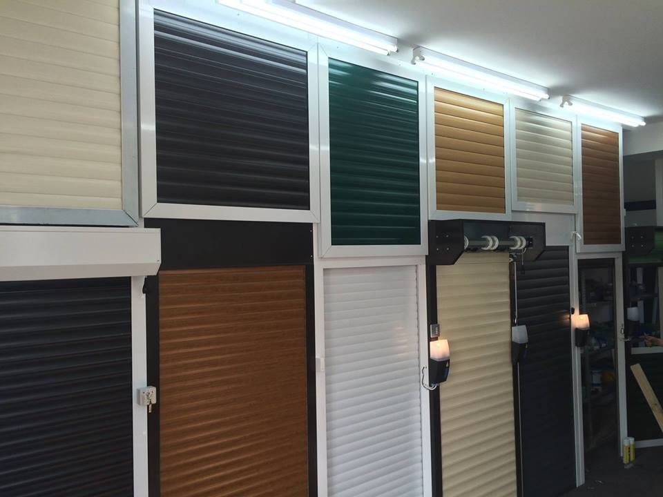 A selection of electric roller shutters at our LT Garage Doors showroom