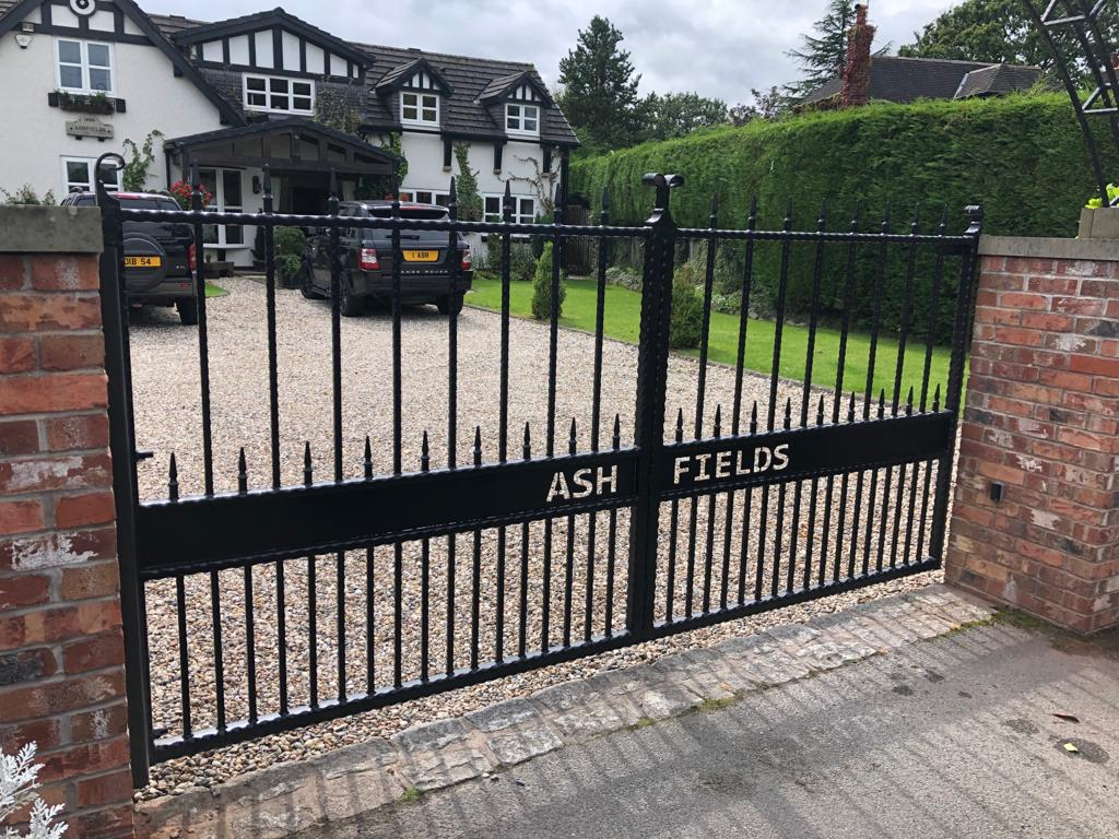 Automated, galvanised, wrought iron, powder coated driveway gate