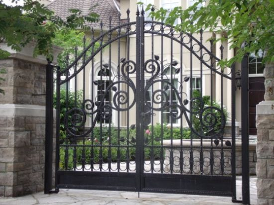 Wrought iron driveway gate, beautifully designed, galvanised and a powder coated finish