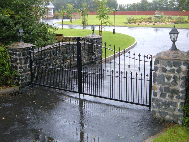 Wrought iron driveway gate, powder coated and galvanised.