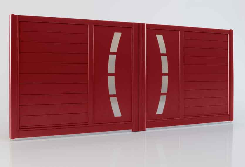 Horizal - From the Akordia collection - Cotim Aluminium swing gate in a red finish