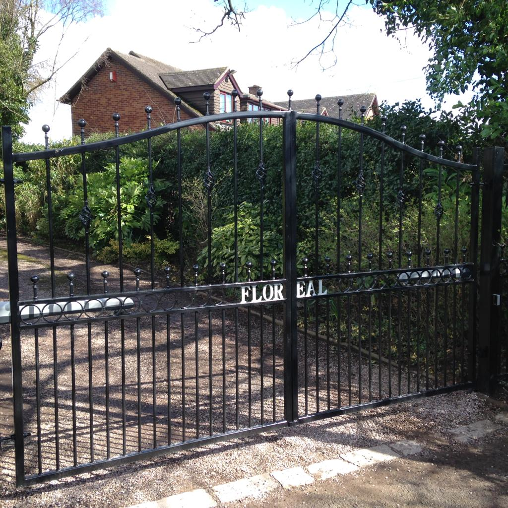 AD Barlaston - A personalised, automated, galvanised, wrought iron, powder coated driveway gate