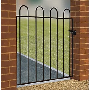 A simple wrought iron, galvanised side gate, powder coated black