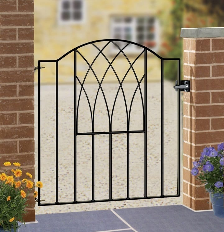 AD Westlands - A dainty wrought iron, galvanised side gate, powder coated black