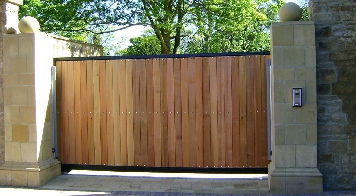 Check out this motorised, hard wood timber, sliding, driveway gate
