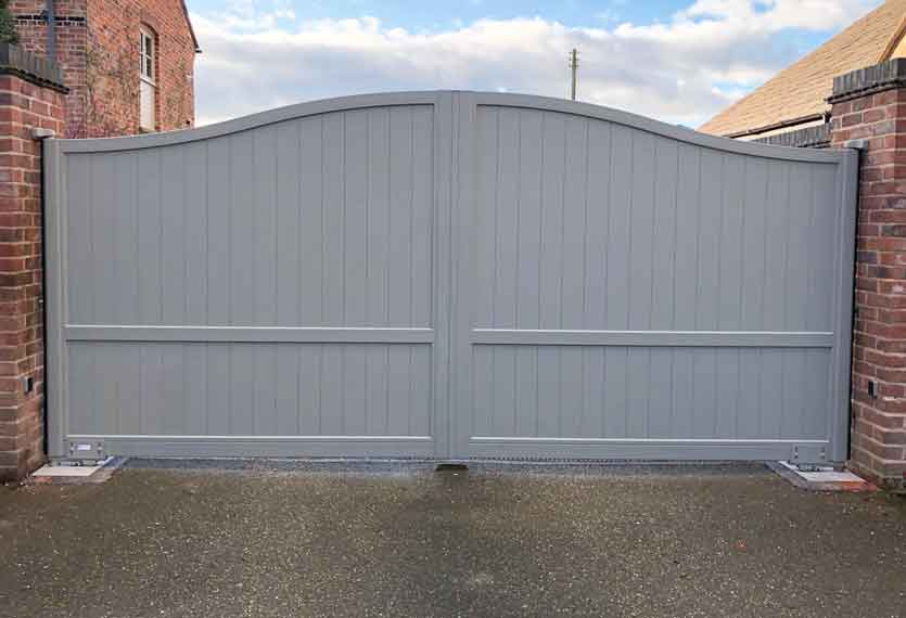 Horizal-A contemporary painted limnos, light grey aluminium swing gate in a bespoke design