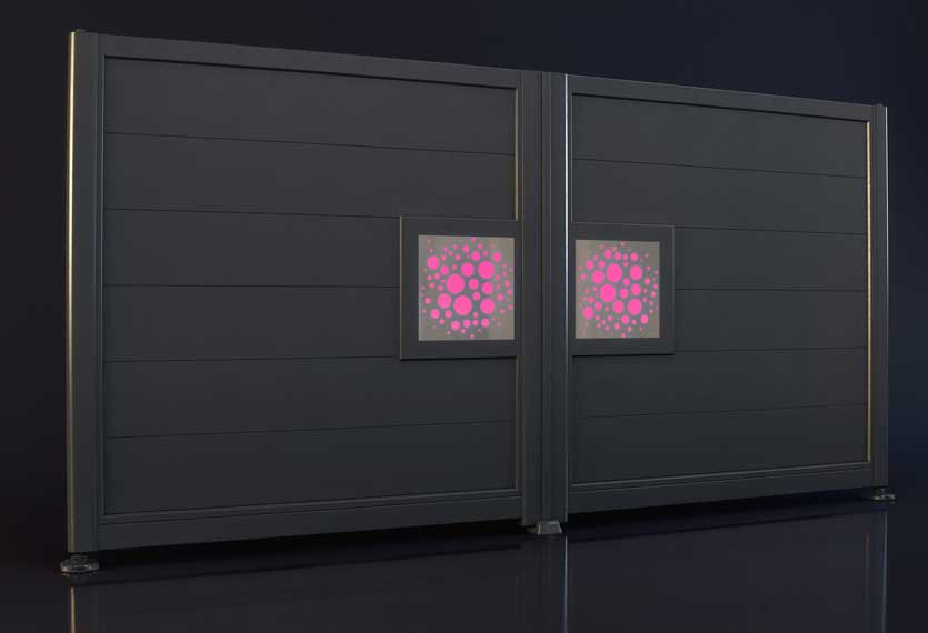 Horizal- night and day - bubbles design- Aluminium gates. A unique LED lighting system set up to your smart device which enables you to change colours and patterns on your gate design.