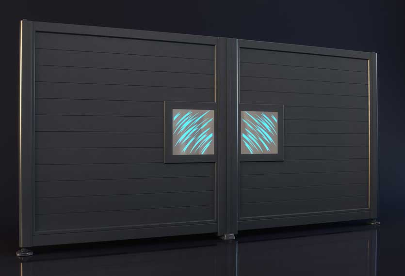 Horizal- A night and day claws design aluminium gate. A unique LED lighting system set up to your smart device which enables you to change colours and patterns on your gate design.