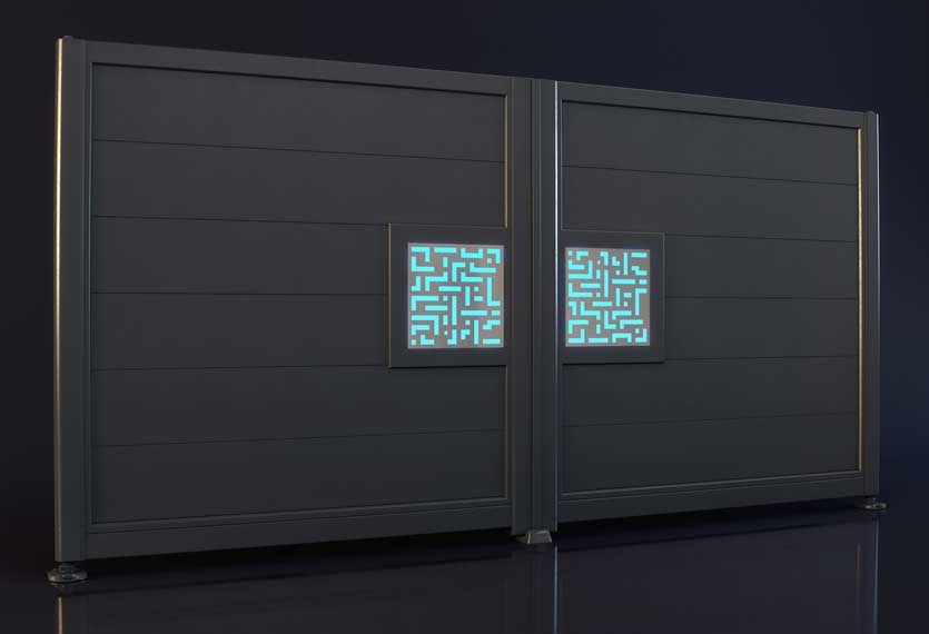 Horizal- night and day labrynth design- Aluminium gates. A unique LED lighting system set up to your smart device which enables you to change colours and patterns on your gate design.