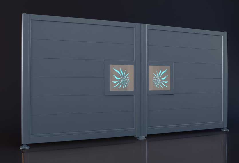 Horizal night and day sun design- Aluminium gates. A unique LED lighting system set up to your smart device which enables you to change colours and patterns on your gate design.