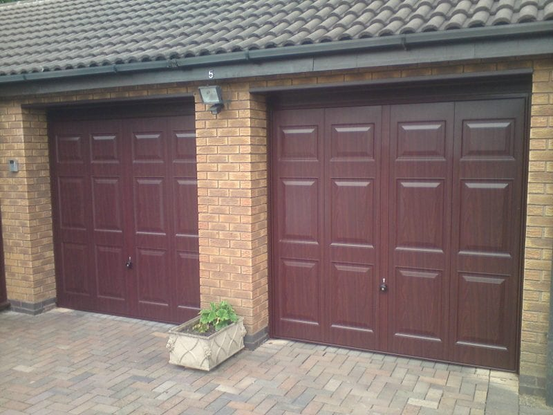 Hormann Windermere up and over garage door in a rosewood finish