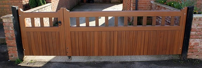 Richmond -A double driveway gate in hardwood timer