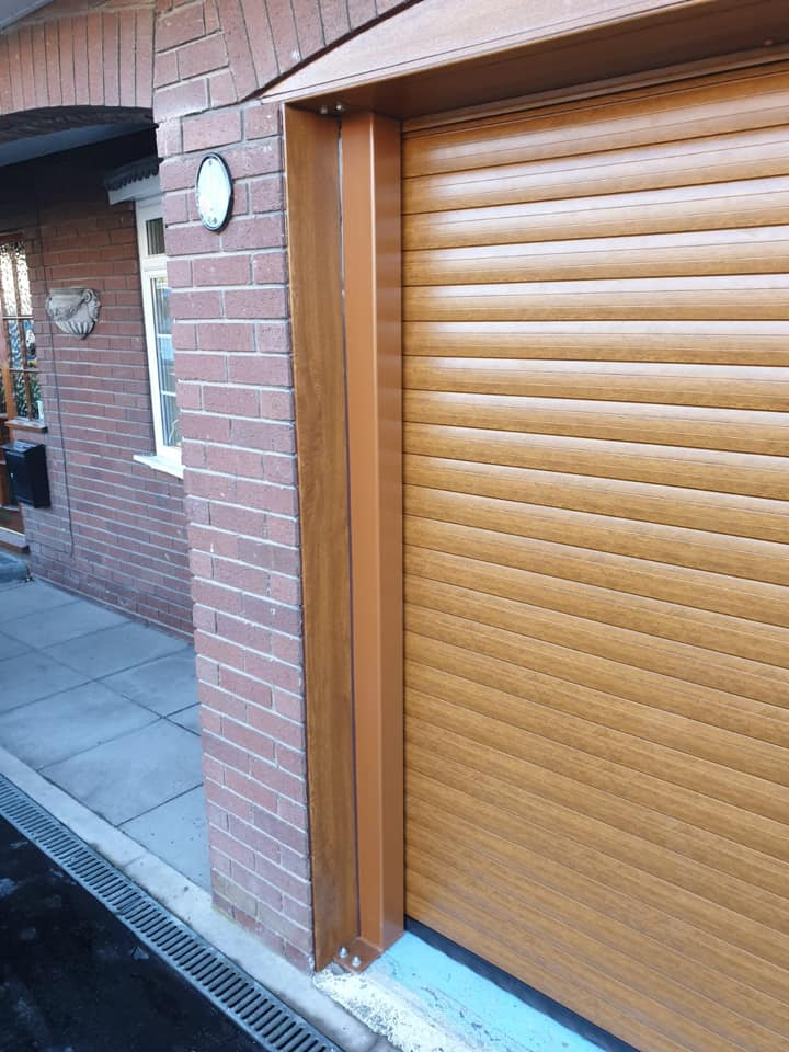 77mm double Stylish roller door in golden oak with a matching kit.