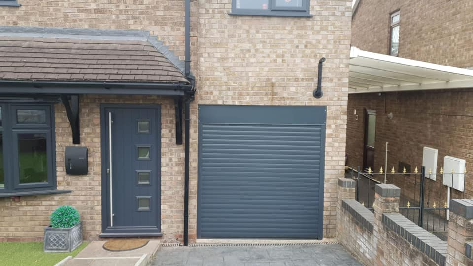 77mm Stylish Roller Door in Anthracite Grey with a matching kit, complete with 2 x remote controls