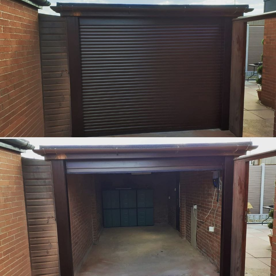 Electrically operated and fully insulated roller garage door in rosewood with a matching kit
